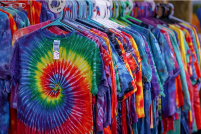 Row of Tye Dye T-Shirts
