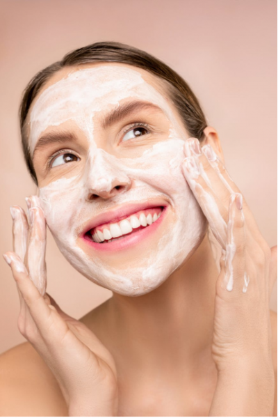 Girl applying face mask
