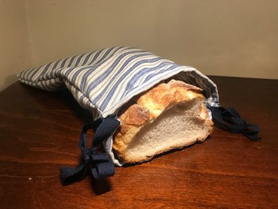 Loaf of Bread in Linen Bag