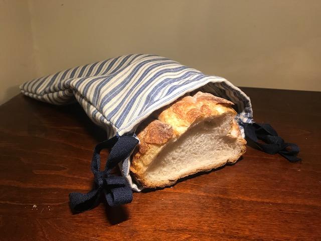 Loaf of Bread in Linen Bag